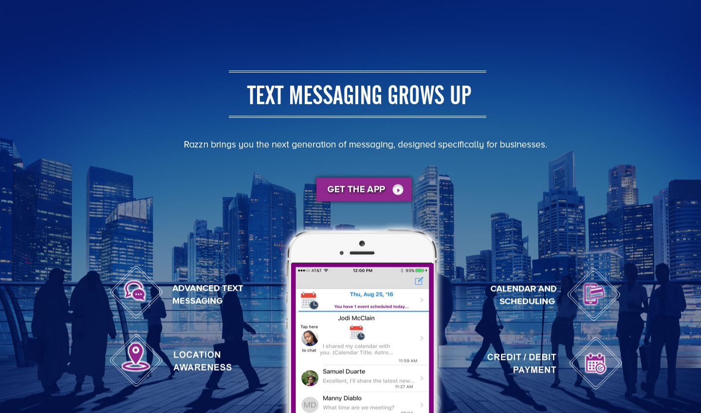 Razzn messaging banner - advanced text messaging, scheduling, and location awareness